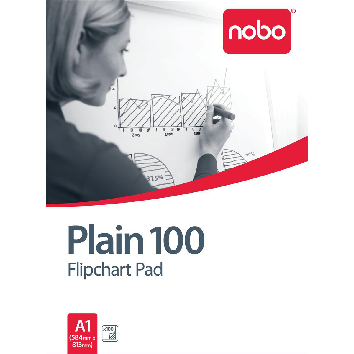Nobo Flipchart Pad 100 Sheets 70gsm A1 Plain Ref 34633681 Pack 2