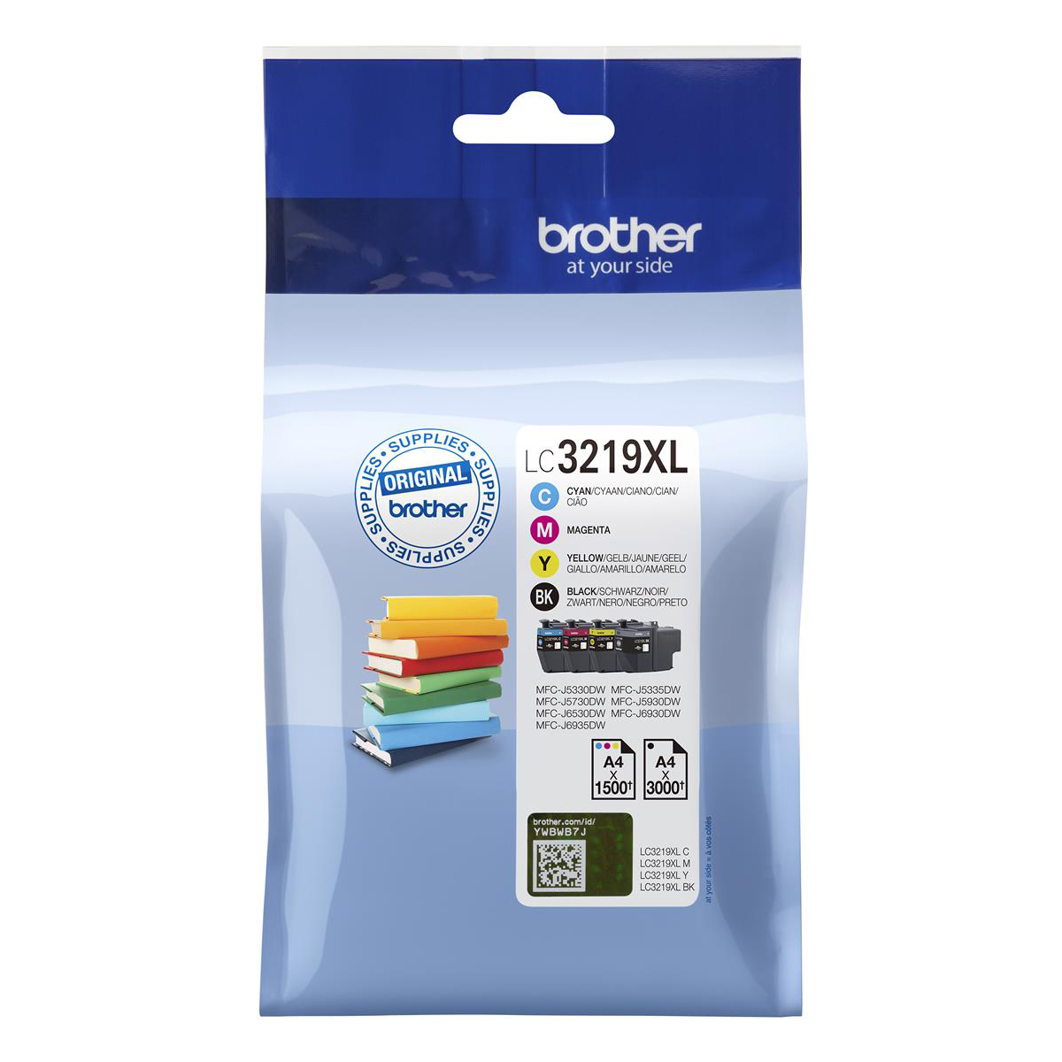 Brother LC3219XLVAL Inkjet Cart HY Page Life 3000pp Black Cyan/Mag/Yel 1500pp Ref LC3219XLVAL [Pack 4]
