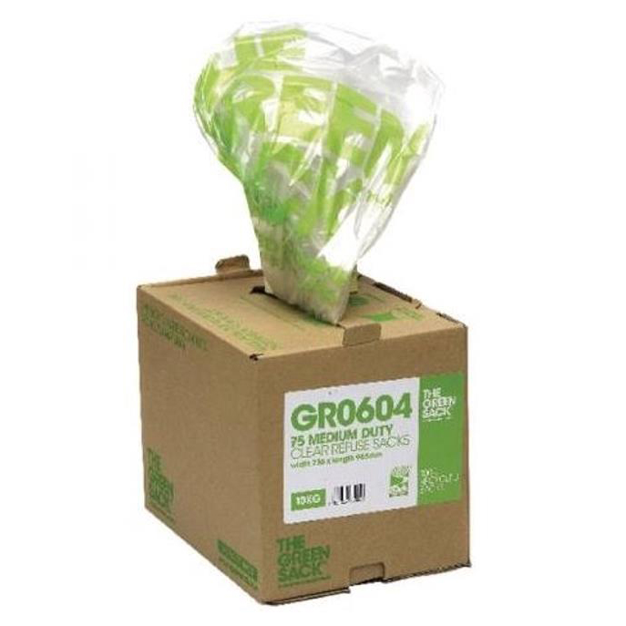 The Green Sack Refuse Sacks Medium Duty 10kg Capacity Clear Ref 0703119 Pack 75