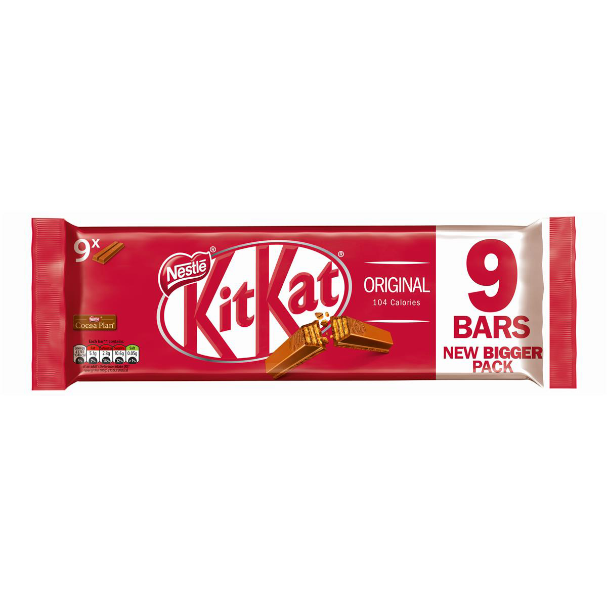 Sweet biscuits or cookies Nestle Kit Kat Bars Milk Chocolate 2 Fingers Ref 12339411 Pack 9