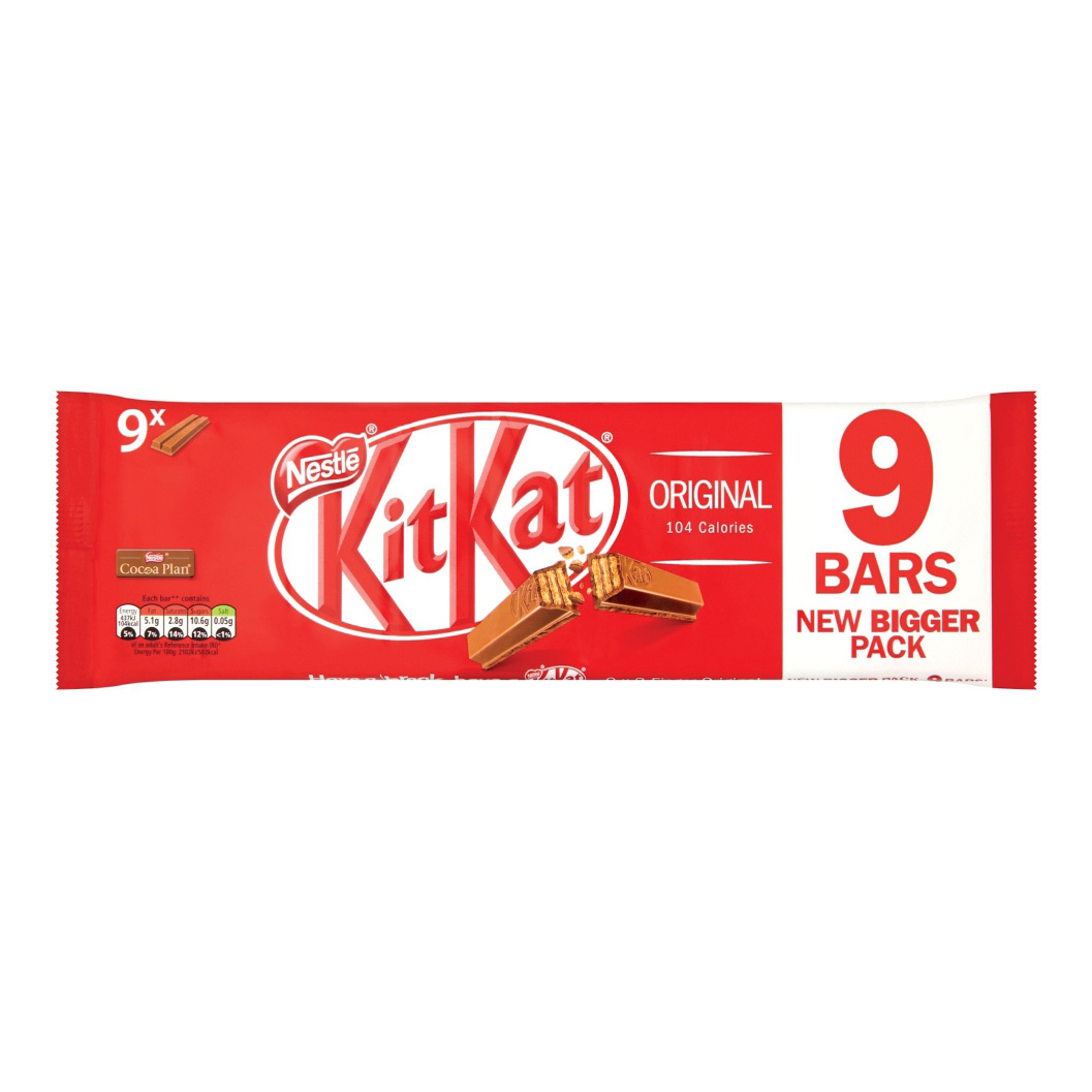 Nestle Kit Kat Bars Milk Chocolate 2 Fingers Ref 12339411 Pack 9