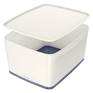 Leitz MyBox Storage Box Large with Lid Plastic(ABS) W385xD318xH198mm White/Grey Ref 52161001