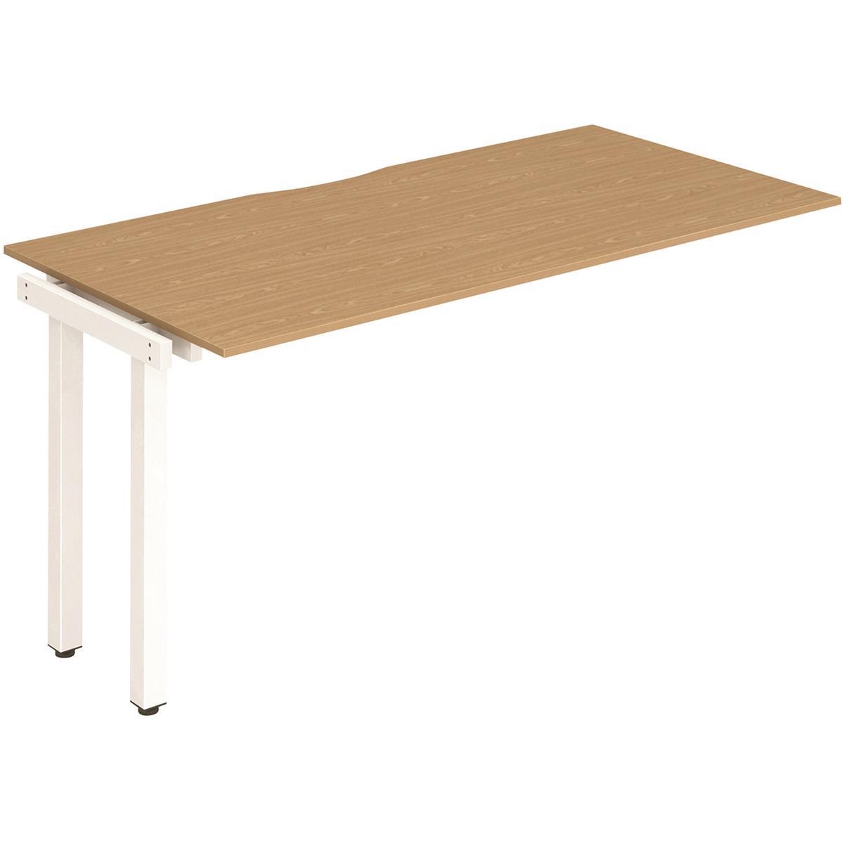 Trexus Bench Desk Single Extension White Leg 1600x800mm Oak Ref BE308