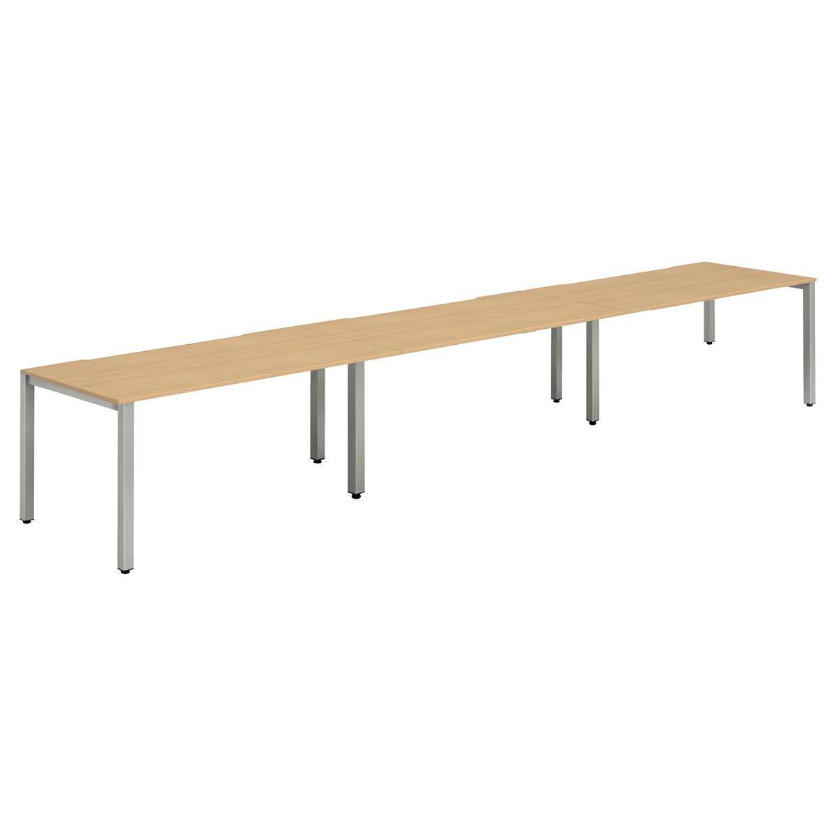 Trexus Bench Desk 3 Person Side to Side Configuration Silver Leg 3600x800mm Beech Ref BE418