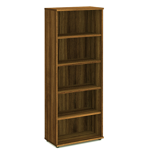 Bookcases Trexus Office Very High Bookcase 800x400x2000mm 4 Shelves Walnut Ref I000112