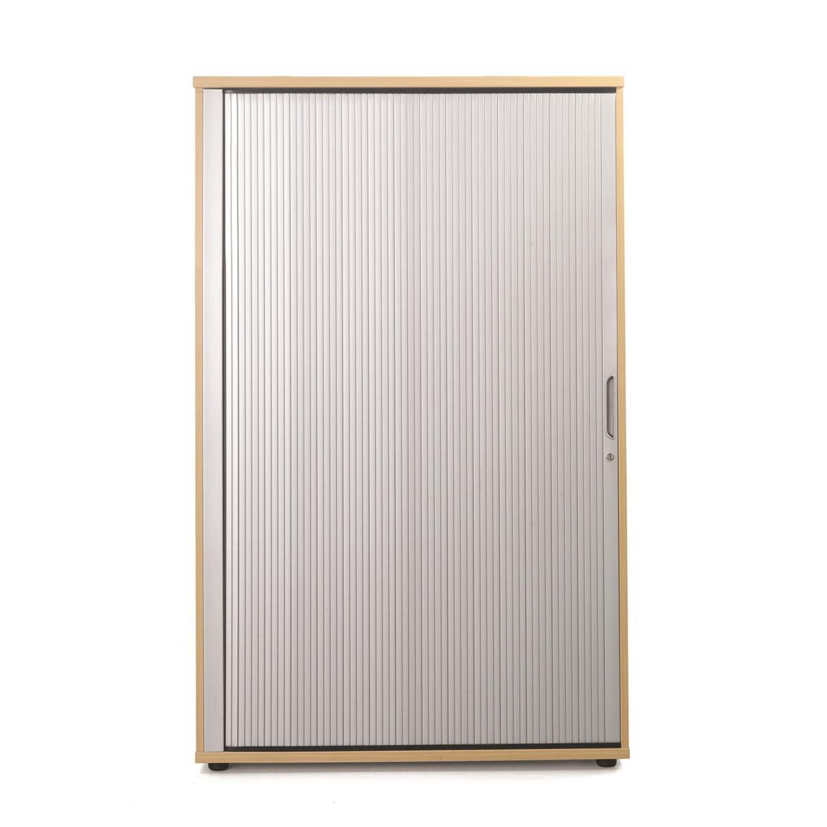 Sonix Medium Tambour Door Cupboard 1000x525x1600mm 1 Shelf Rich Beech/Silver Ref w9870b