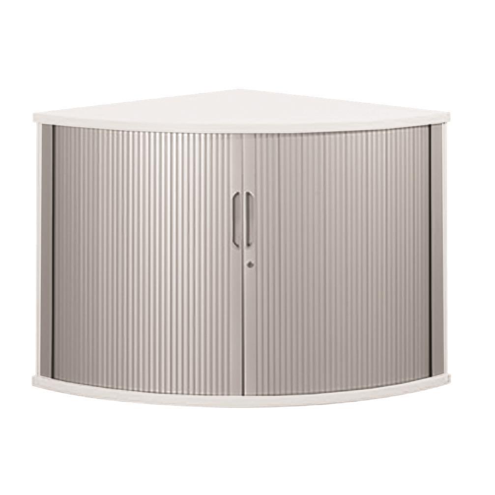 Sonix Tambour Corner Cupboard 800x800x730mm Polar White Ref w9050wh