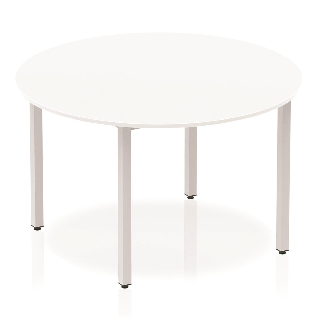 Trexus Circular Box Frame Silver Leg Table 1200mm White Ref BF00197