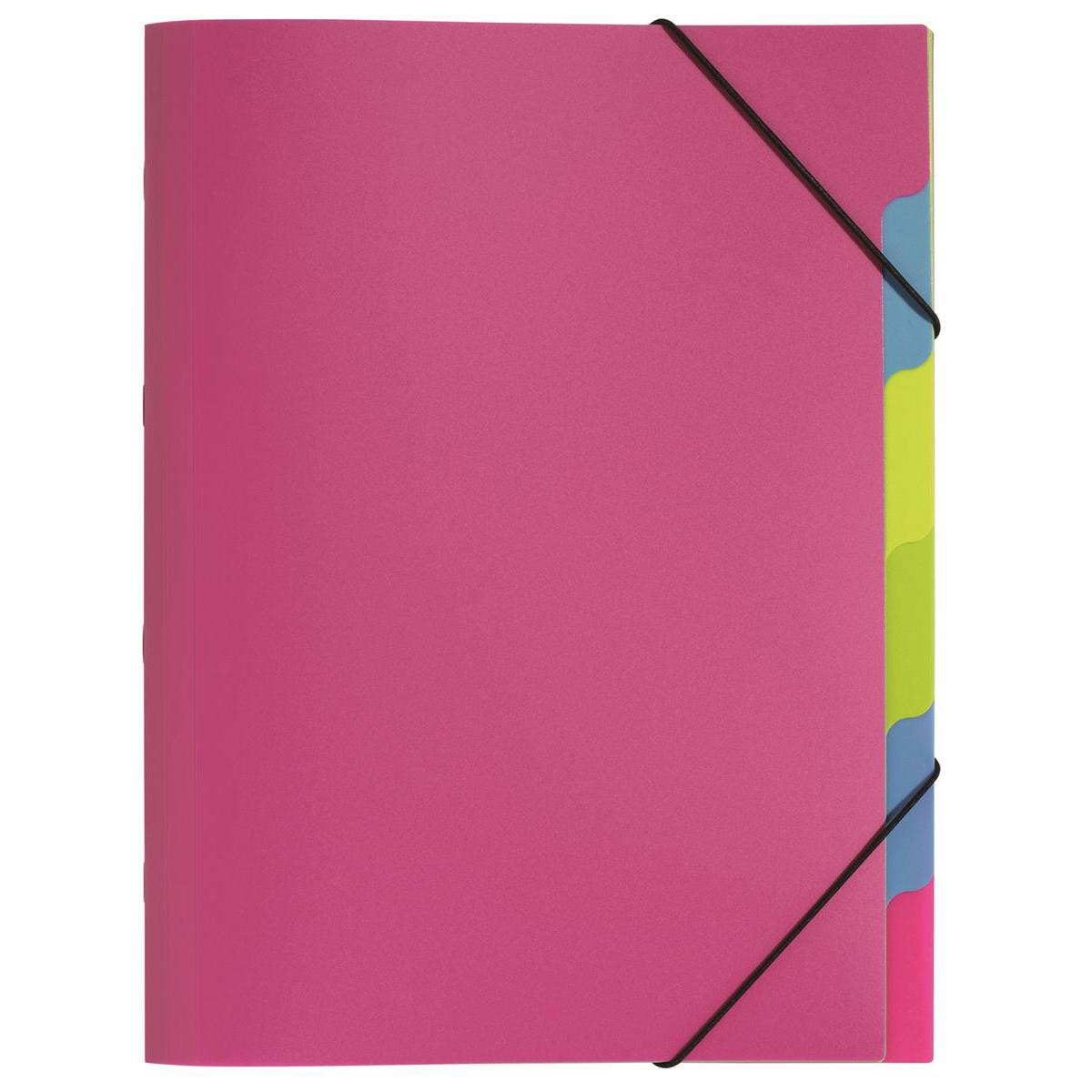 Pagna Fresh 5 Part File Elastic Corner Straps Polypropylene A4 Pink Ref 4180334 Pack 10
