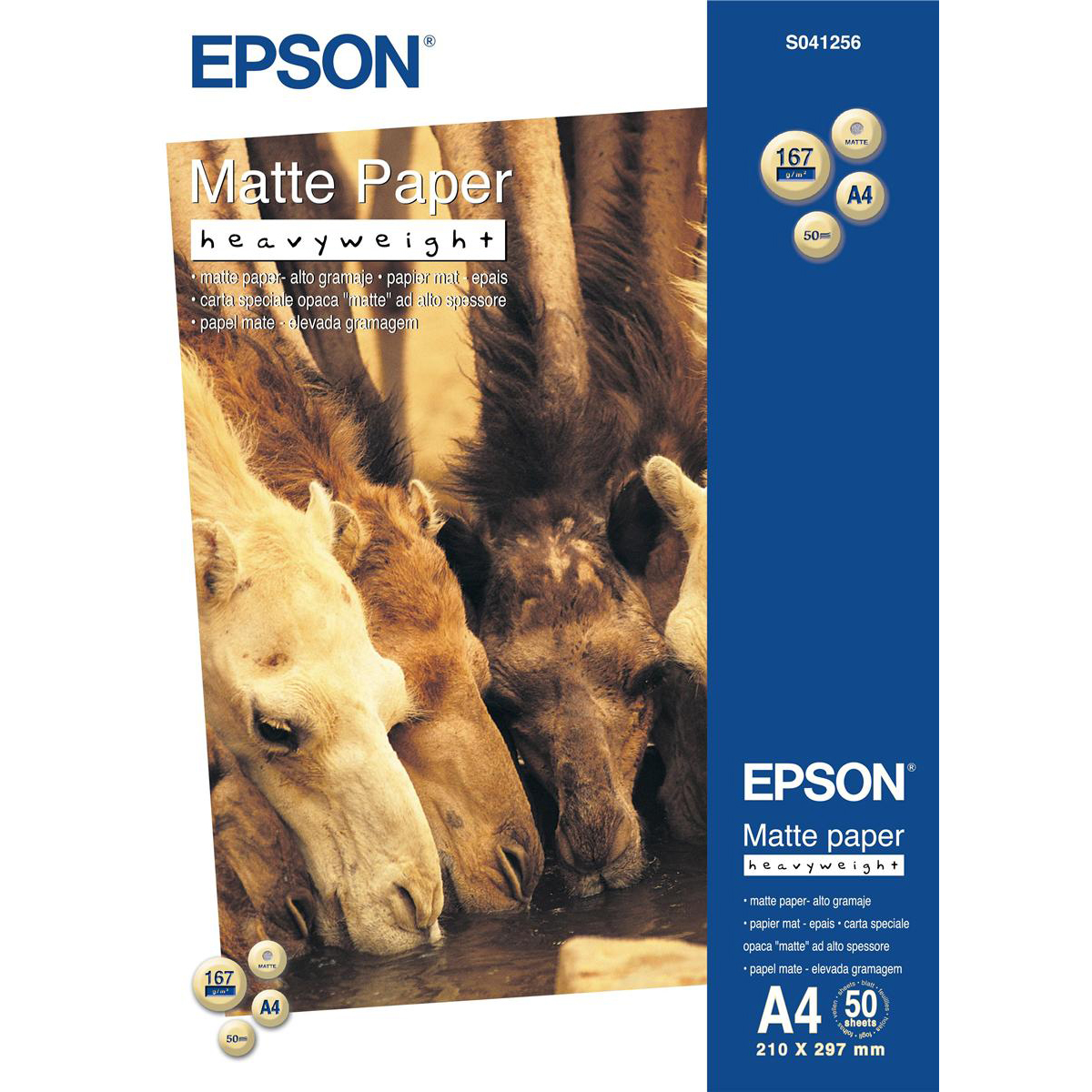 Epson A4 Heavy Weight Matte Paper 50 Sheets 167gsm White Ref C13S041256 3 to 5 Day Leadtime