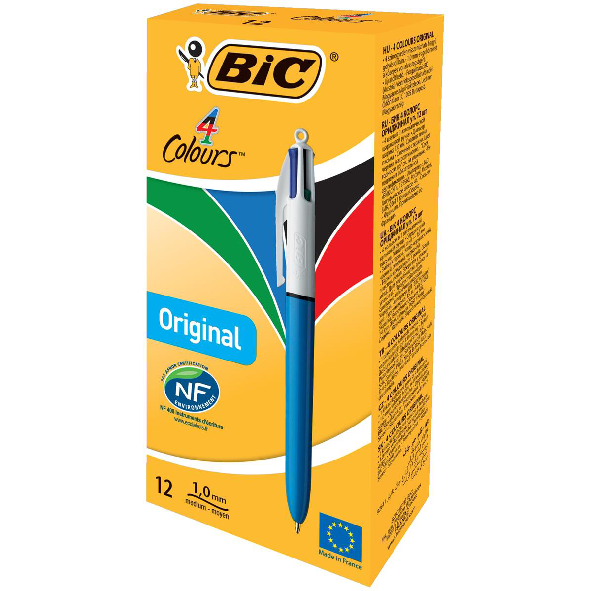 Bic 4-Colour Ball Pen Blue Black Red Green Ref 802077/801867 [Pack 12] [2 For 1] Jul-Sep 2018