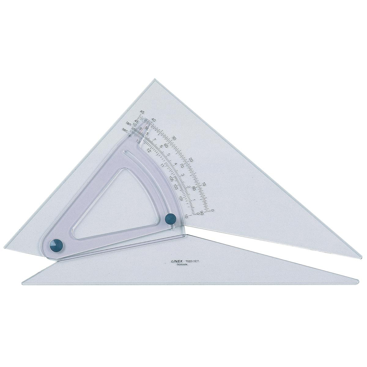 Triangles Linex Adjustable Set Square Precision 0.5 Degree Scale Bevelled Edge 250x320mm Clear Ref LXB1120/10B