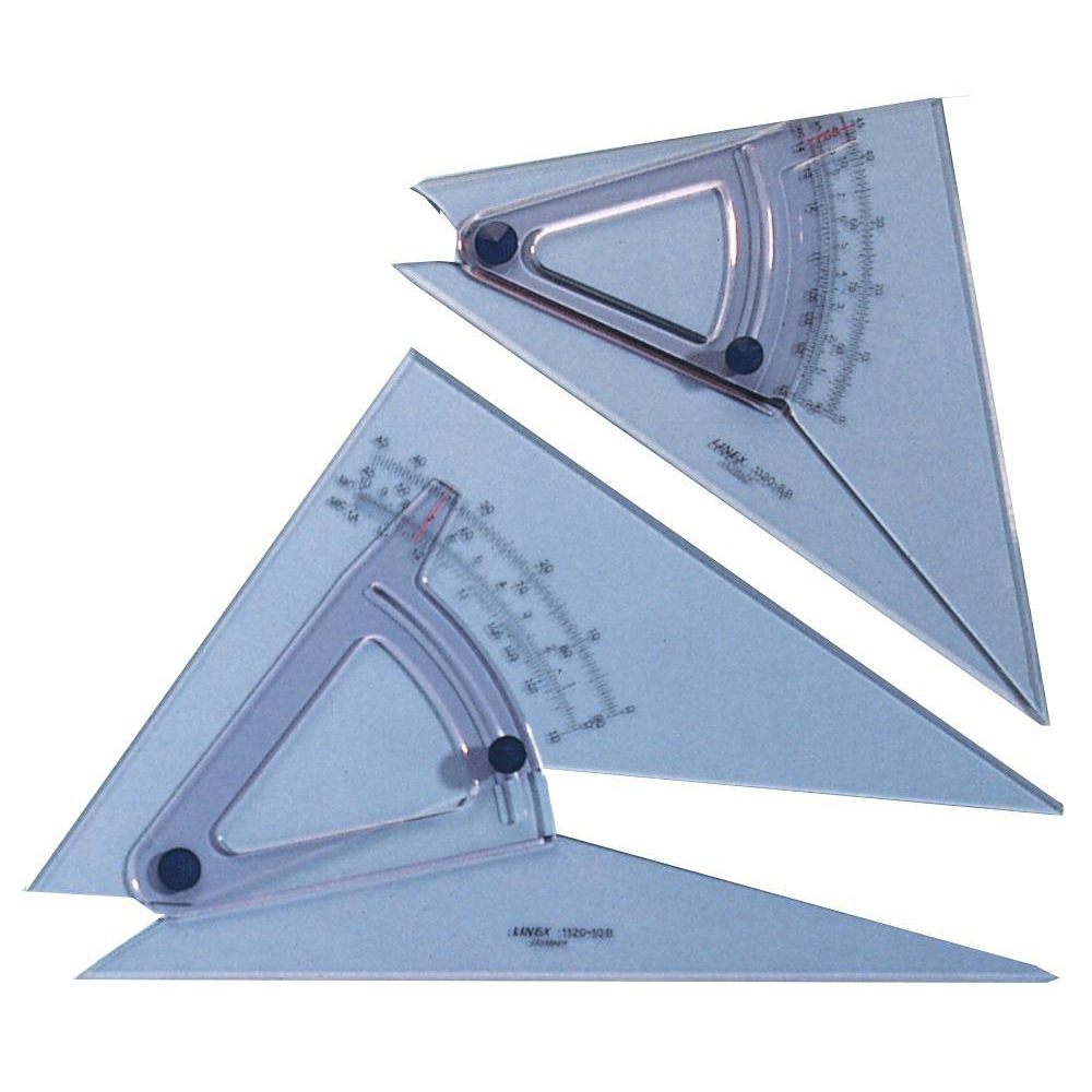 Linex Adjustable Set Square Precision 0.5 Degree Scale Bevelled Edge 250x270mm Clear Ref LXB1120/10B