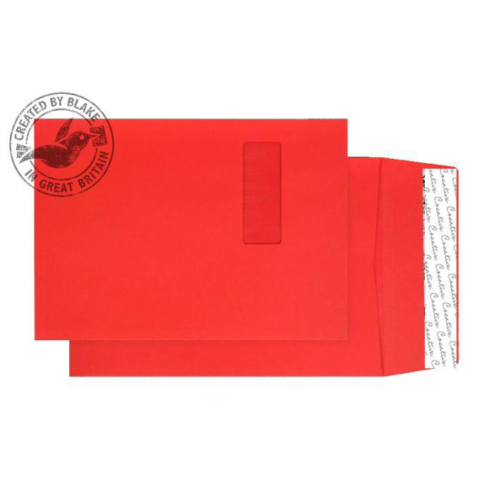 Purely Packaging Envelope Gusset P&S 140gsm C4 Window Red Ref 9061W Pack 125 *10 Day Leadtime*