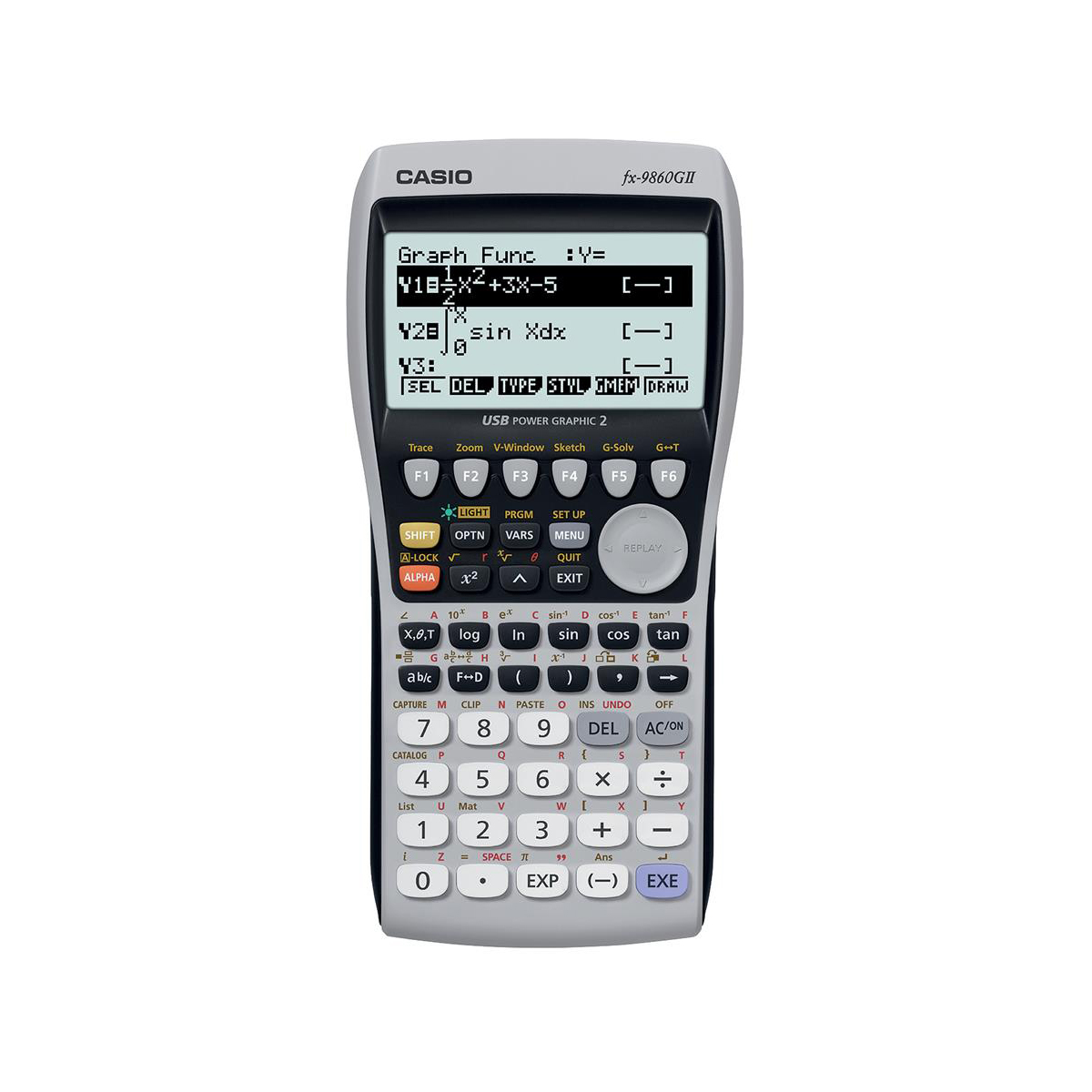 Casio Graphic Calculator Natural Textbook Display with USB 91.5x21.2x184mm Grey Ref FX-9860GII