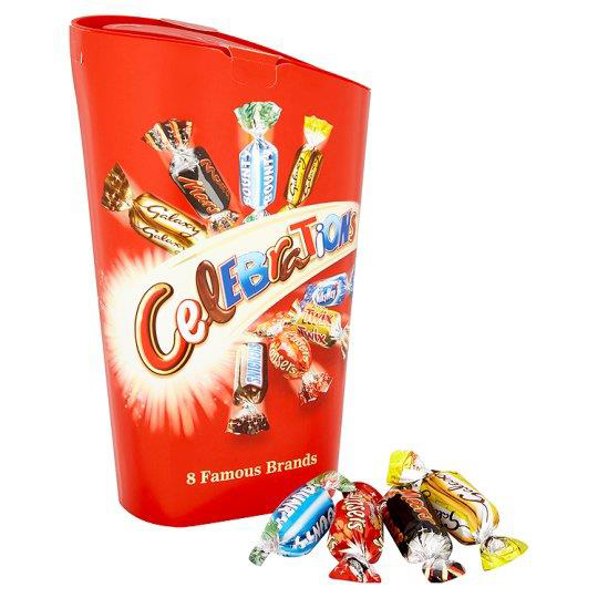 Chocolate or chocolate substitute candy Celebrations Chocolates Assorted Flavours 245g Carton Ref 276199