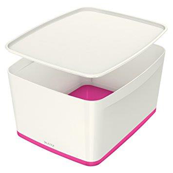 Leitz MyBox Storage Box Large with Lid Plastic(ABS) W385xD318xH198mm White/Pink Ref 52161023