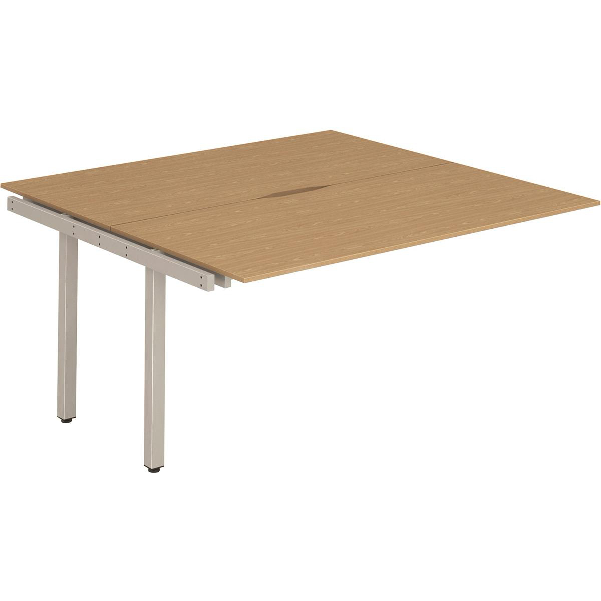 Trexus Bench Desk Double Extension Back to Back Configuration Silver Leg 1400x1600mm Oak Ref BE213