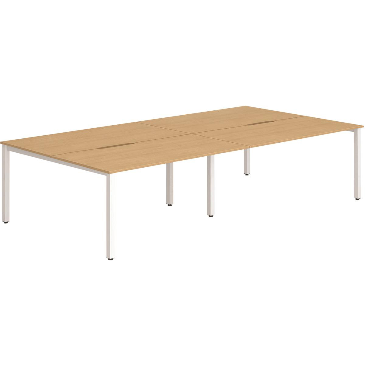 Trexus Bench Desk 4 Person Back to Back Configuration White Leg 2800x1600mm Beech Ref BE237