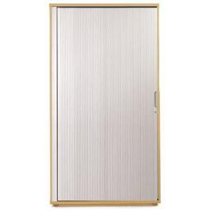 Sonix Medium Tambour Door Cupboard 1000x525x1600mm 1 Shelf Natural Oak/Silver Ref w9870o