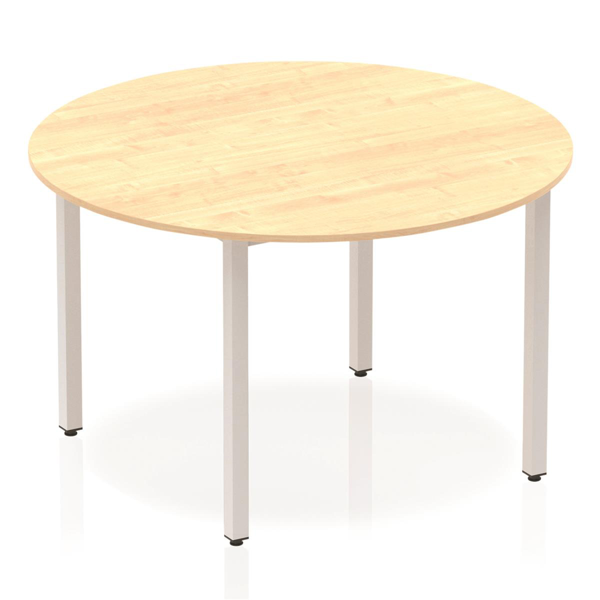 Trexus Circular Box Frame Silver Leg Table 1200mm Maple Ref BF00200