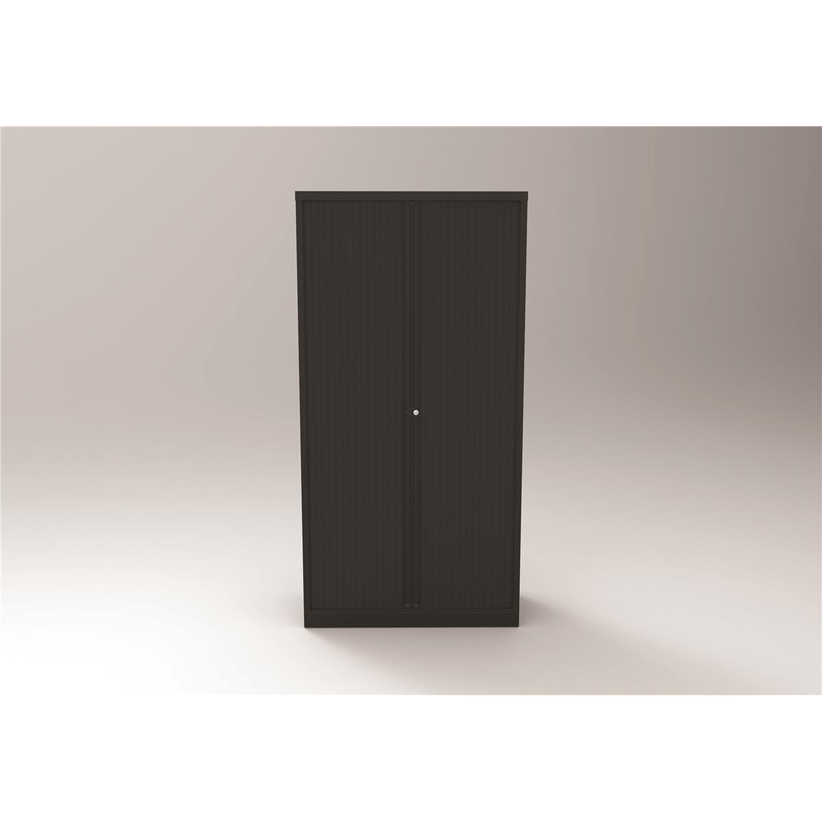Trexus by Bisley Side Opening Tambour Door Cupboard 1000x470x1970-1985mm Black/Black Ref YETB1019.5-av1