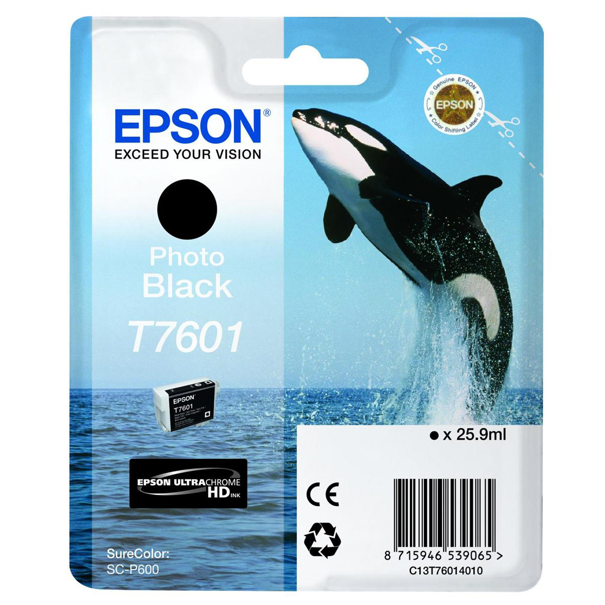 Epson T7601 Inkjet Cartridge Killer Whale Page Life 600pp 25.9ml Photo Black Ref C13T76014010