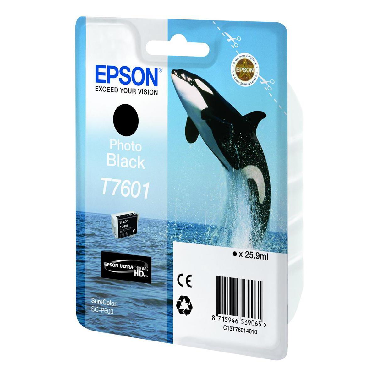 Epson T7601 Inkjet Cartridge Killer Whale Page Life 600pp 25.9ml Photo Black Ref C13T76014010