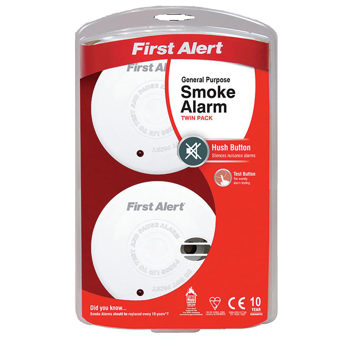 First Alert General Use Smoke Alarm with Silencer Button White Ref FT3020 Pack 2