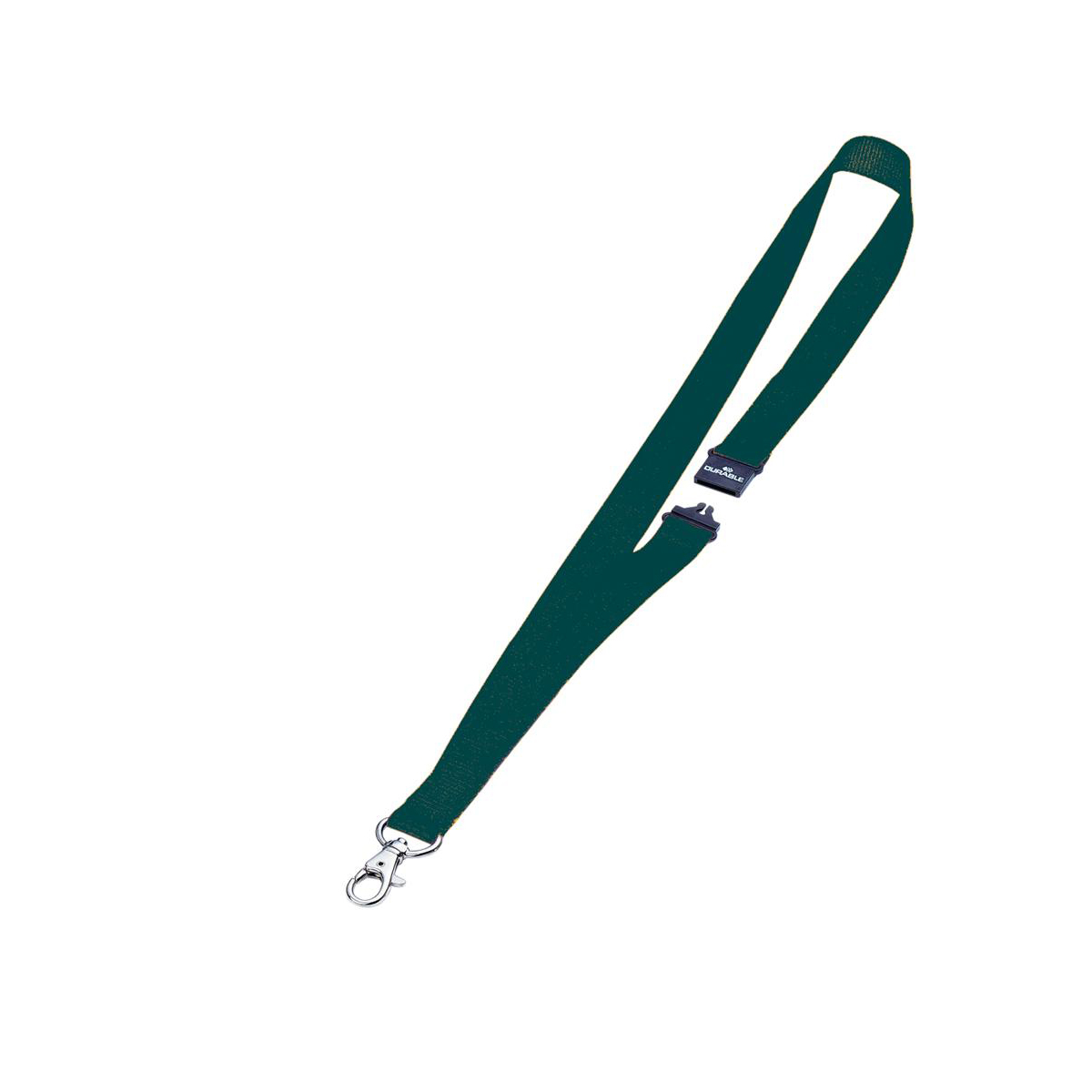 Durable Textile Name Badge Lanyards 20x440mm with Safety Closure Green Ref 813705 [Pack 10]
