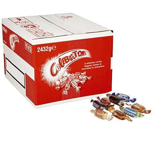 Chocolate or chocolate substitute candy Celebrations Chocolates Assorted Flavours 2432g Bulk Case Ref 611635