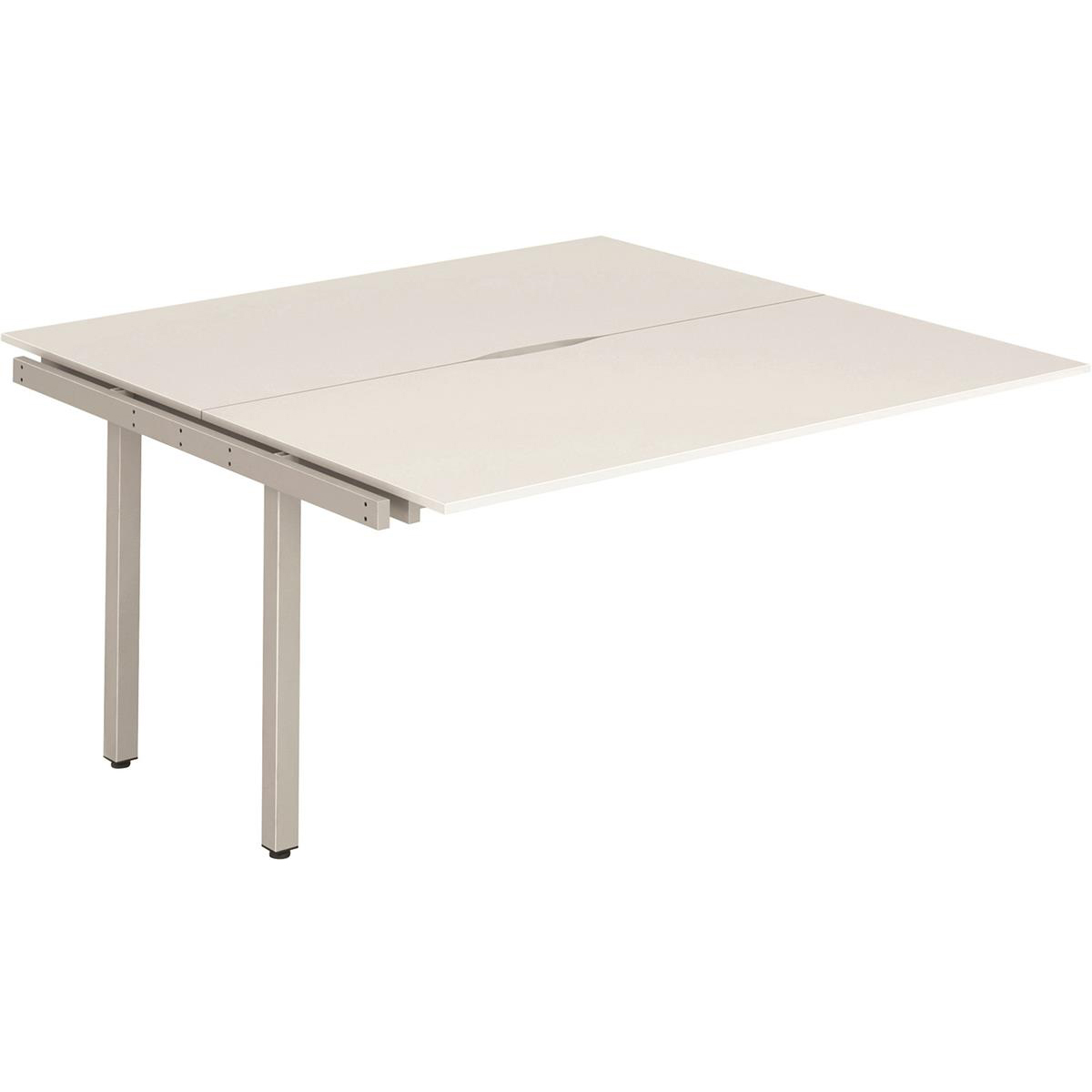 Trexus Bench Desk Double Extension Back to Back Configuration Silver Leg 1400x1600mm White Ref BE215