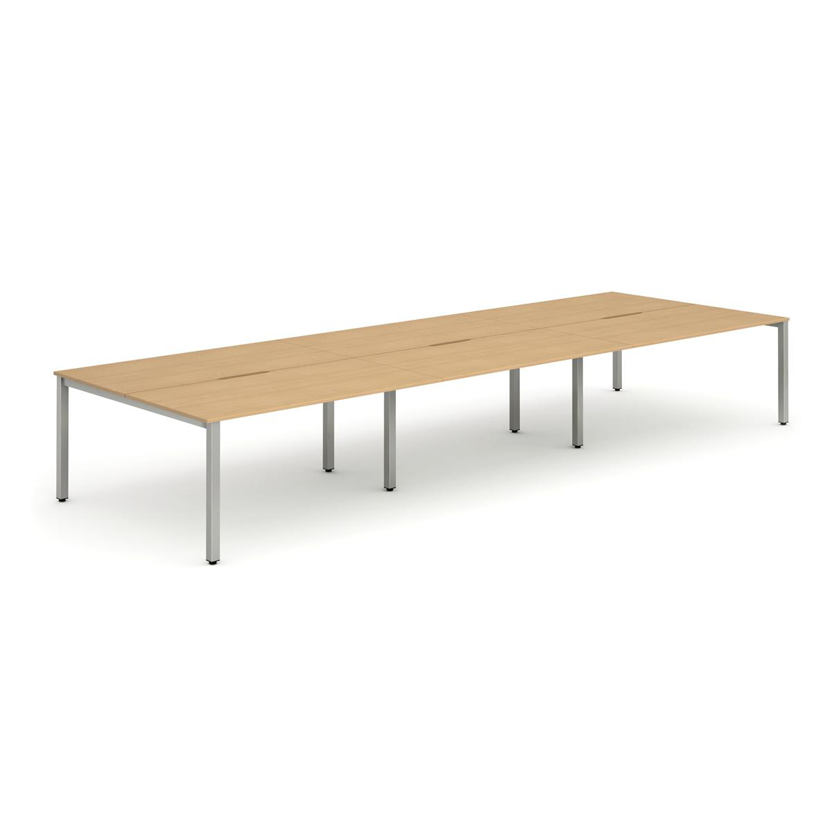 Trexus Bench Desk 6 Person Back to Back Configuration Silver Leg 4800x1600mm Beech Ref BE292