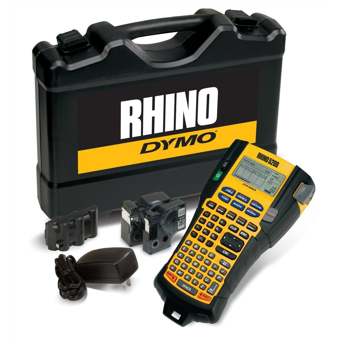 Labelling Machines Dymo RhinoPRO 5200 Labelmaker Kit Printer Adaptor and Rechargeable Battery for 6-19mm Tapes Ref S0841390