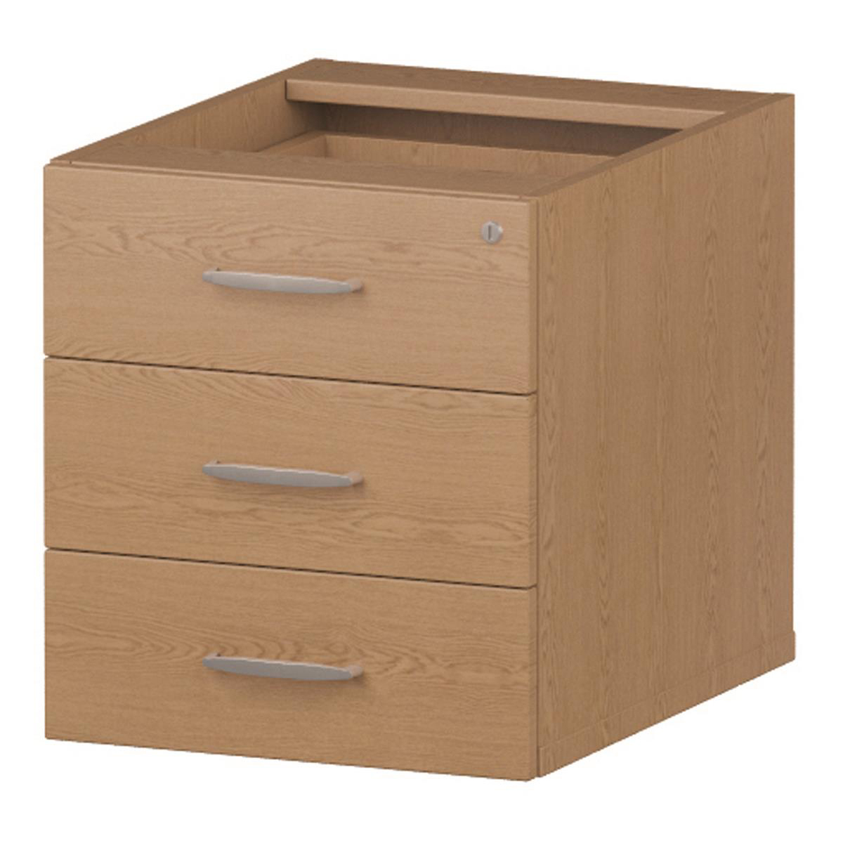 Trexus 3 Drawer Fixed Pedestal 426x463x480mm Oak Ref I001643