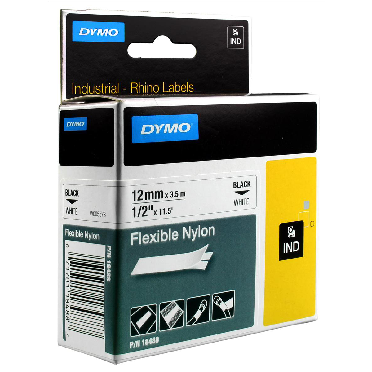 Label making tapes Dymo RhinoPRO Industrial Tape Flexible Nylon 12mm White Ref 18758 S0718100