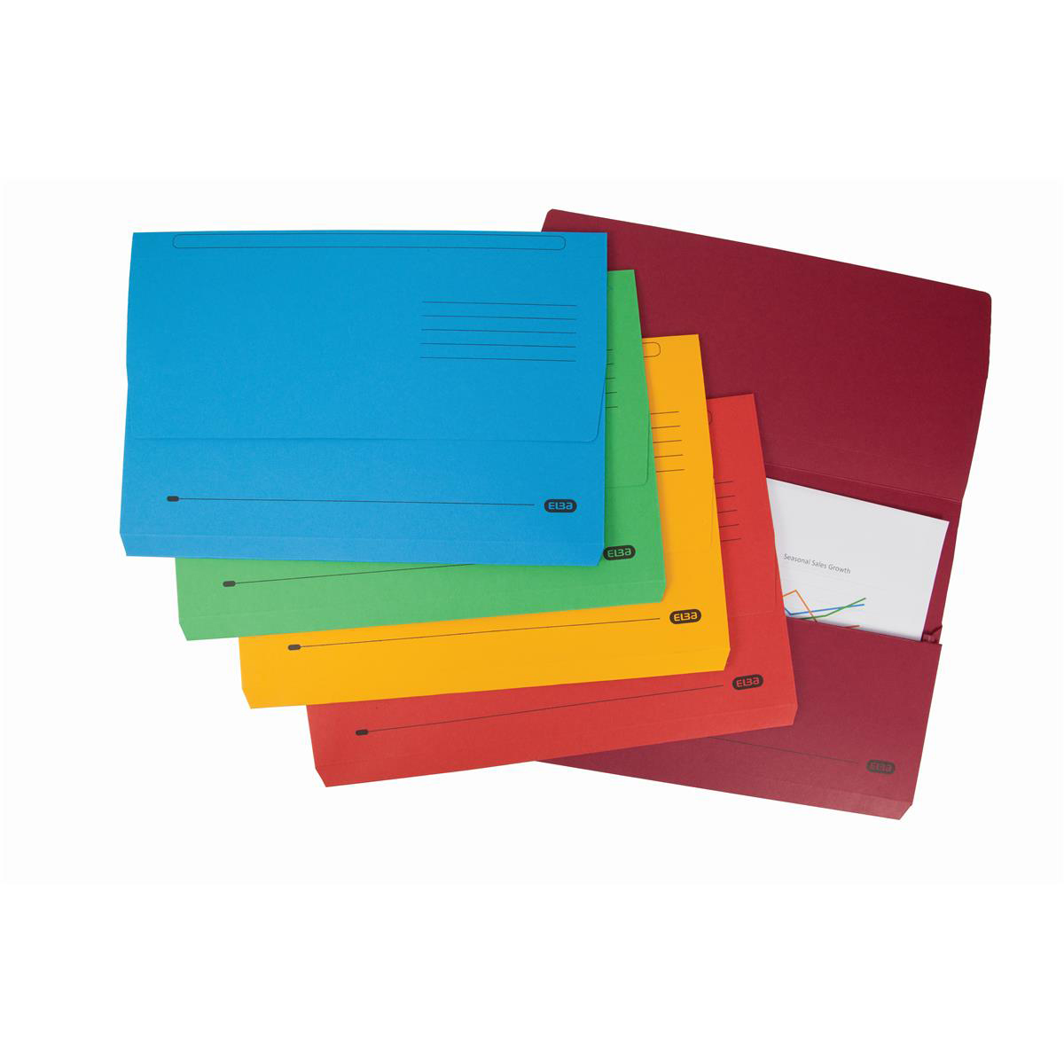 Elba Strongline Manilla Document Wallet 320gsm Capacity 32mm Foolscap Assorted Ref 400099327 Pack 10