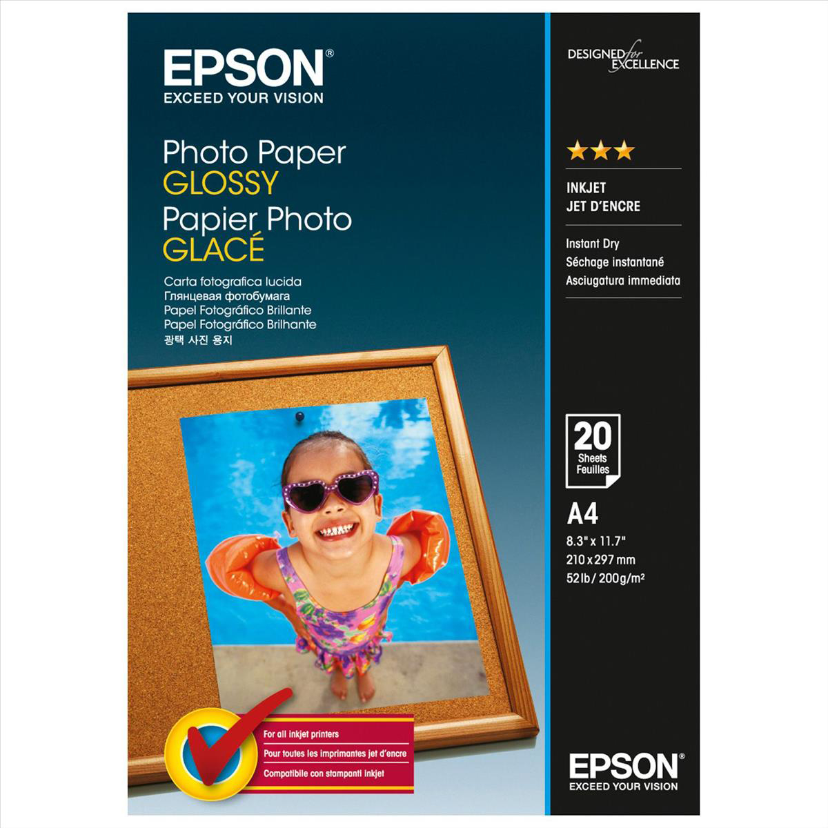 Epson Photo Paper Gloss 200gsm A4 Ref C13S042538 [20 Sheets]