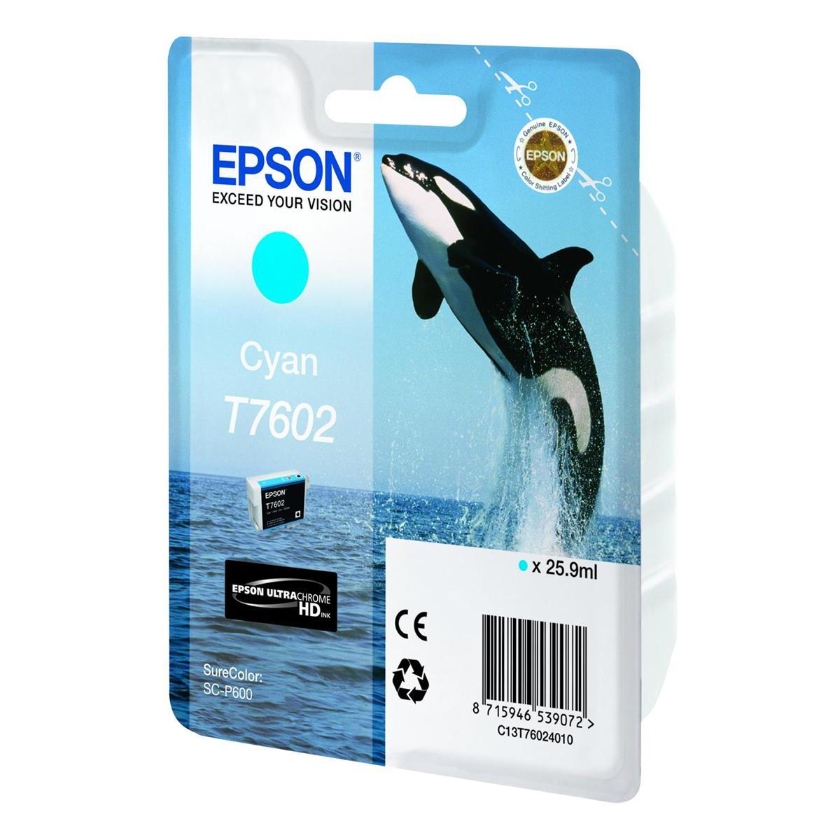 Epson T7602 Inkjet Cartridge Killer Whale Page Life 2200pp 25.9ml Cyan Ref C13T76024010