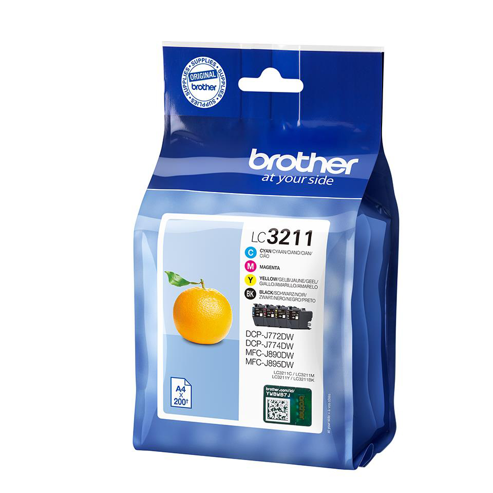 Brother LC3211 Ink Cartridges Page Life 200pp Black/Cyan/Magenta/Yellow Ref LC3211VAL [Pack 4]