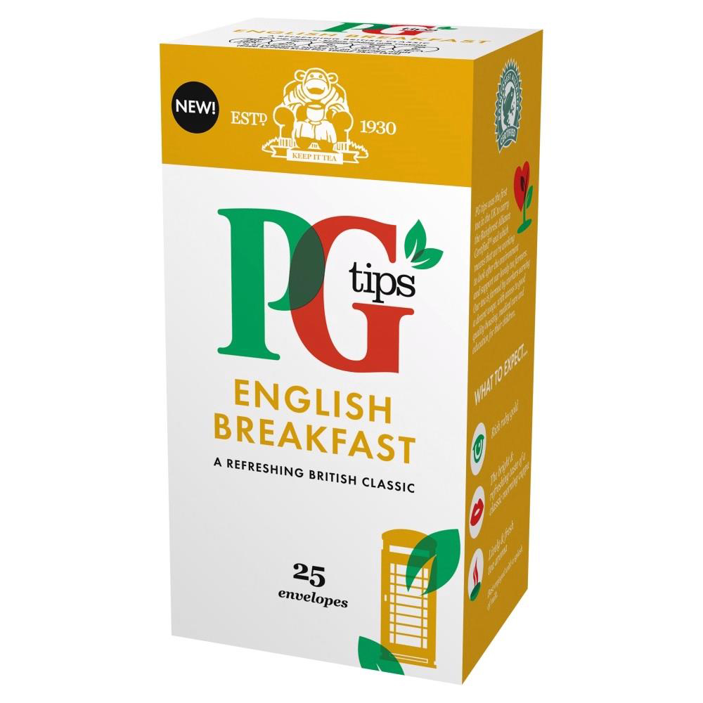 PG Tips Tea Bags English Breakfast Enveloped Ref 29013801 Pack 25