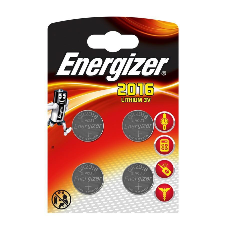 Energizer Lithium Battery CR2016 3V Ref E300520400 [Pack 4]