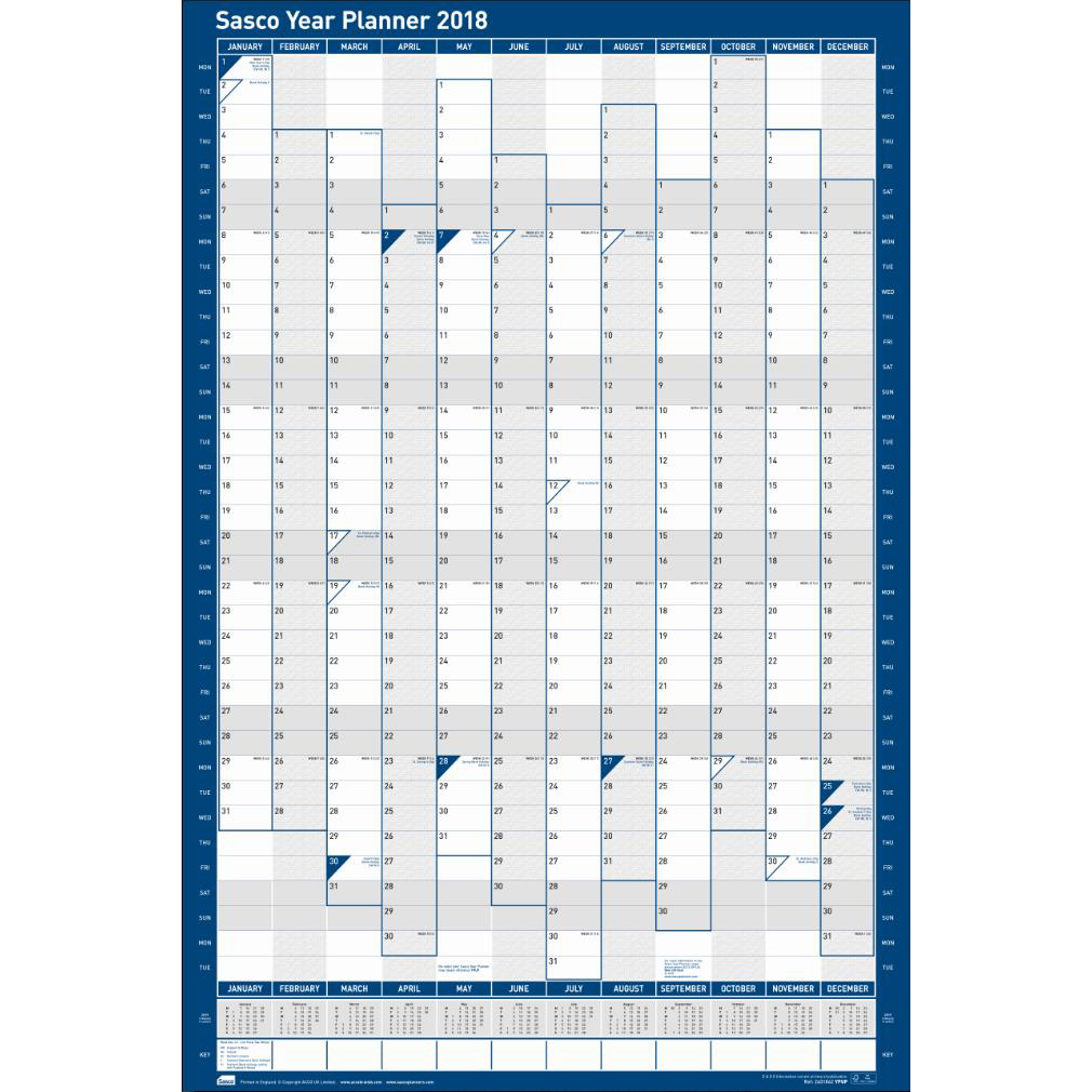 Sasco 2018 Year Planner Portrait Unmounted Ref 2401776-2018