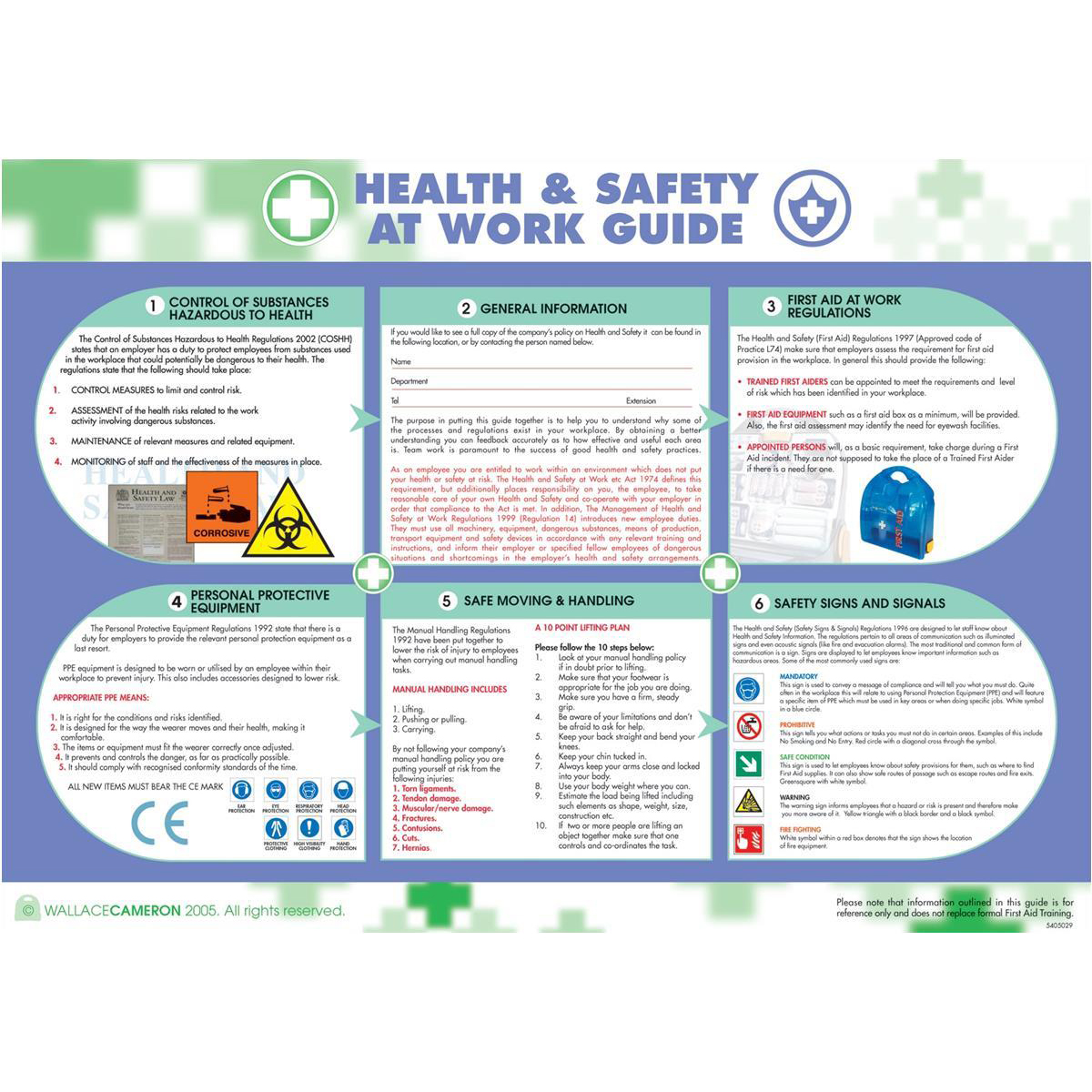 Advice Wallace Cameron Health and Safety At Work Poster Laminated Wall-mountable W590xH420mm Ref 5405023