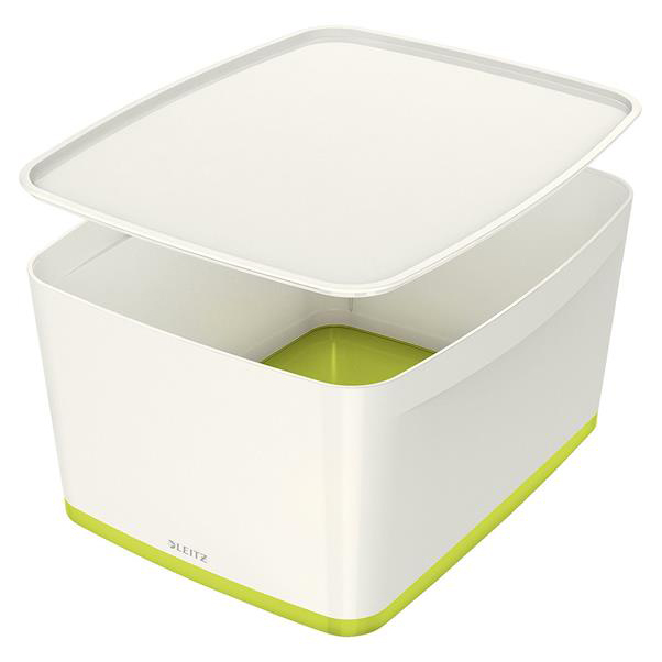 Leitz MyBox Storage Box Large with Lid Plastic W385xD318xH198mm White/Green Ref 52164064