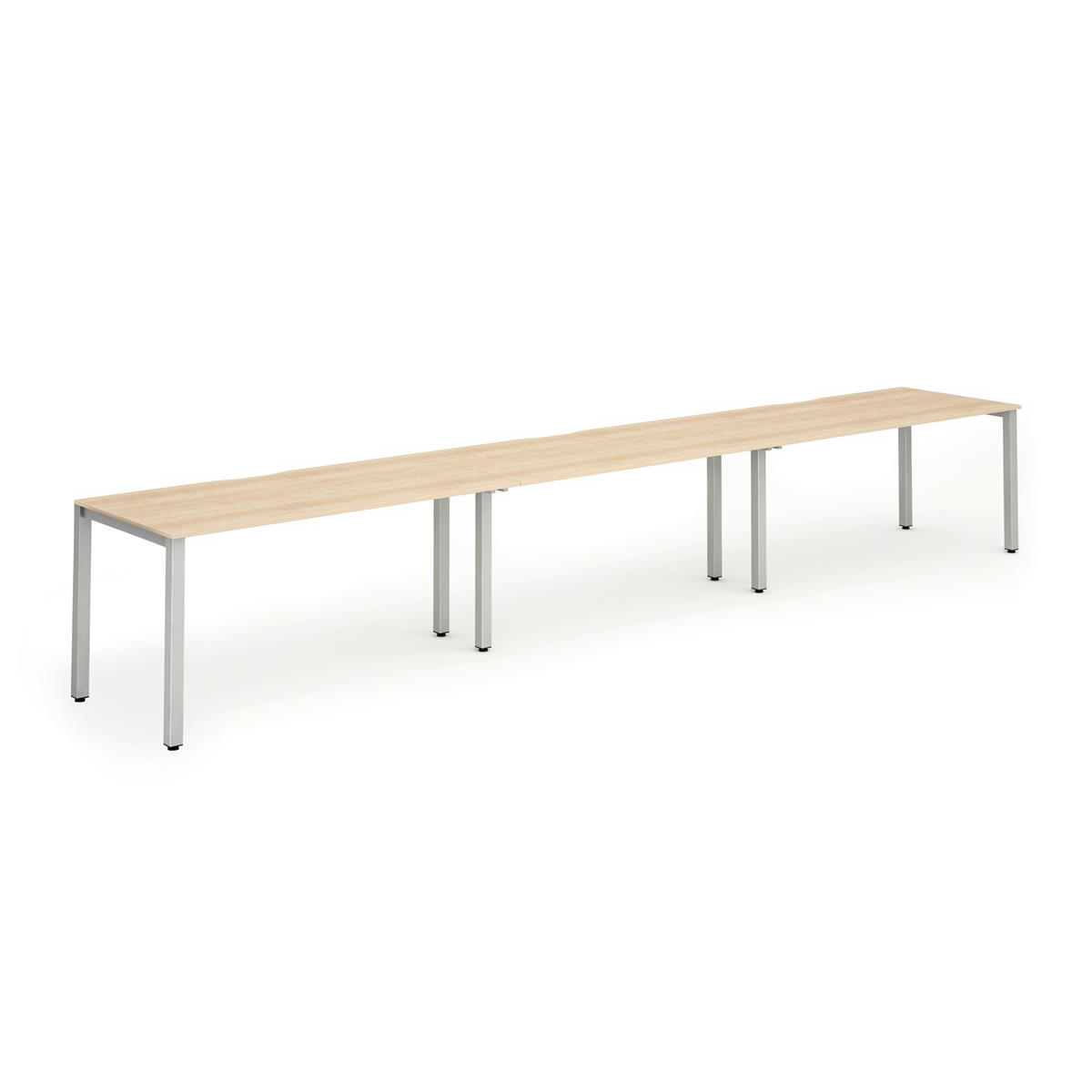 Trexus Bench Desk 3 Person Side to Side Configuration Silver Leg 3600x800mm Maple Ref BE416