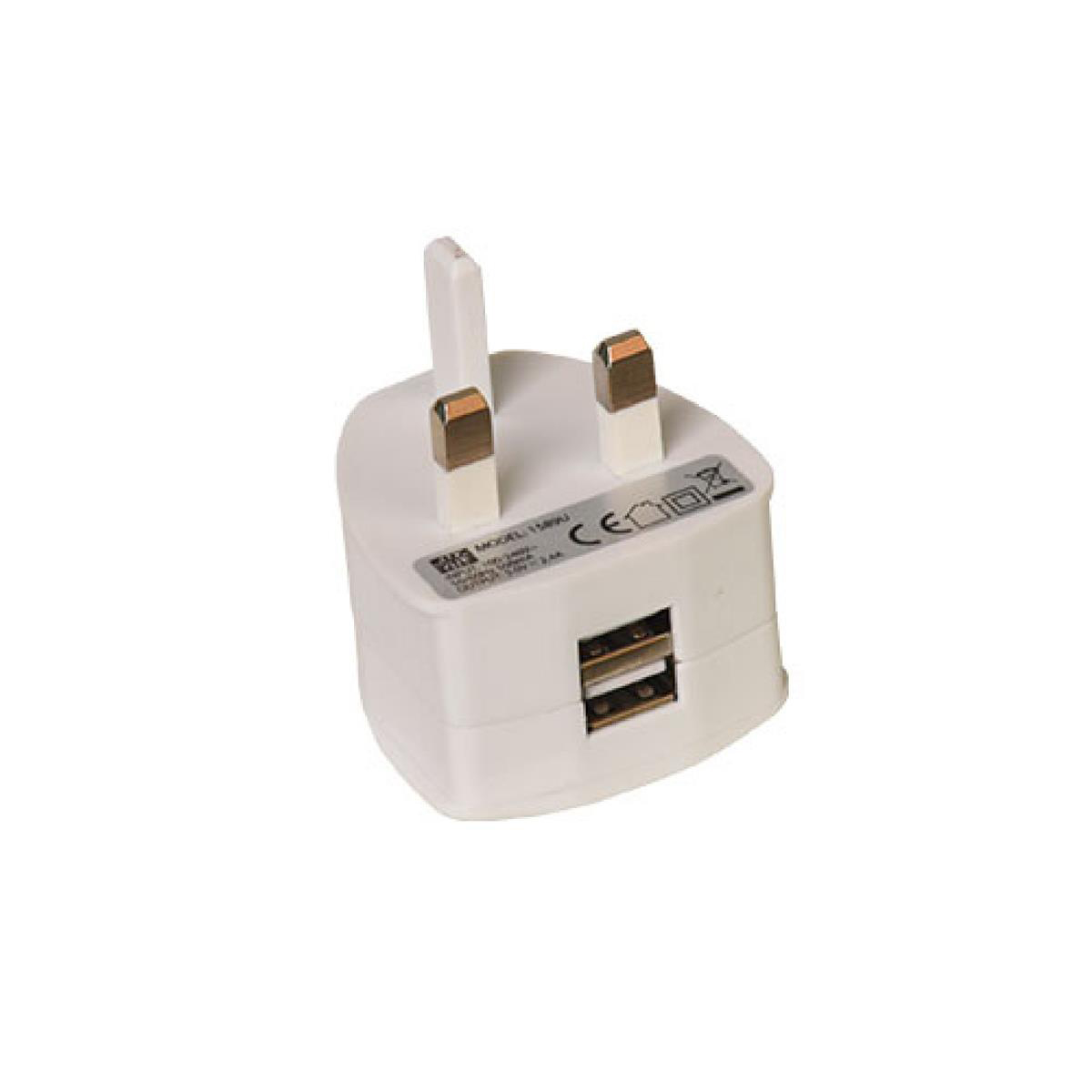 Electrical extension cable Two Port USB Power Plug Ref USBDBL