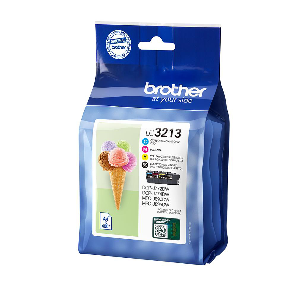 Brother LC3213 Ink Cartridges High Yield Page Life 400pp Black/Cyan/Magenta/Yellow Ref LC3213VAL [Pack 4]