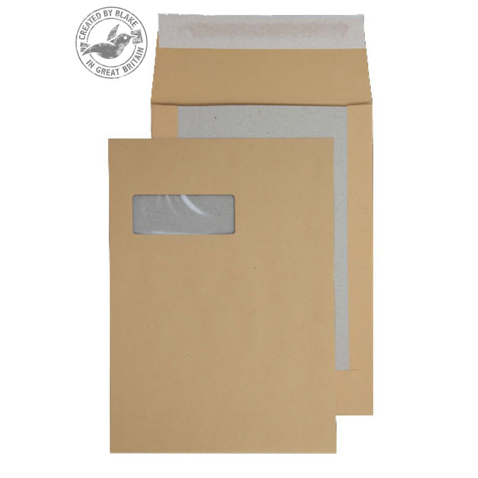 Purely Packaging Envelope Board Backed Gusset P&S C4 Window Ref 93901MW Pk 125 *10 Day Leadtime*