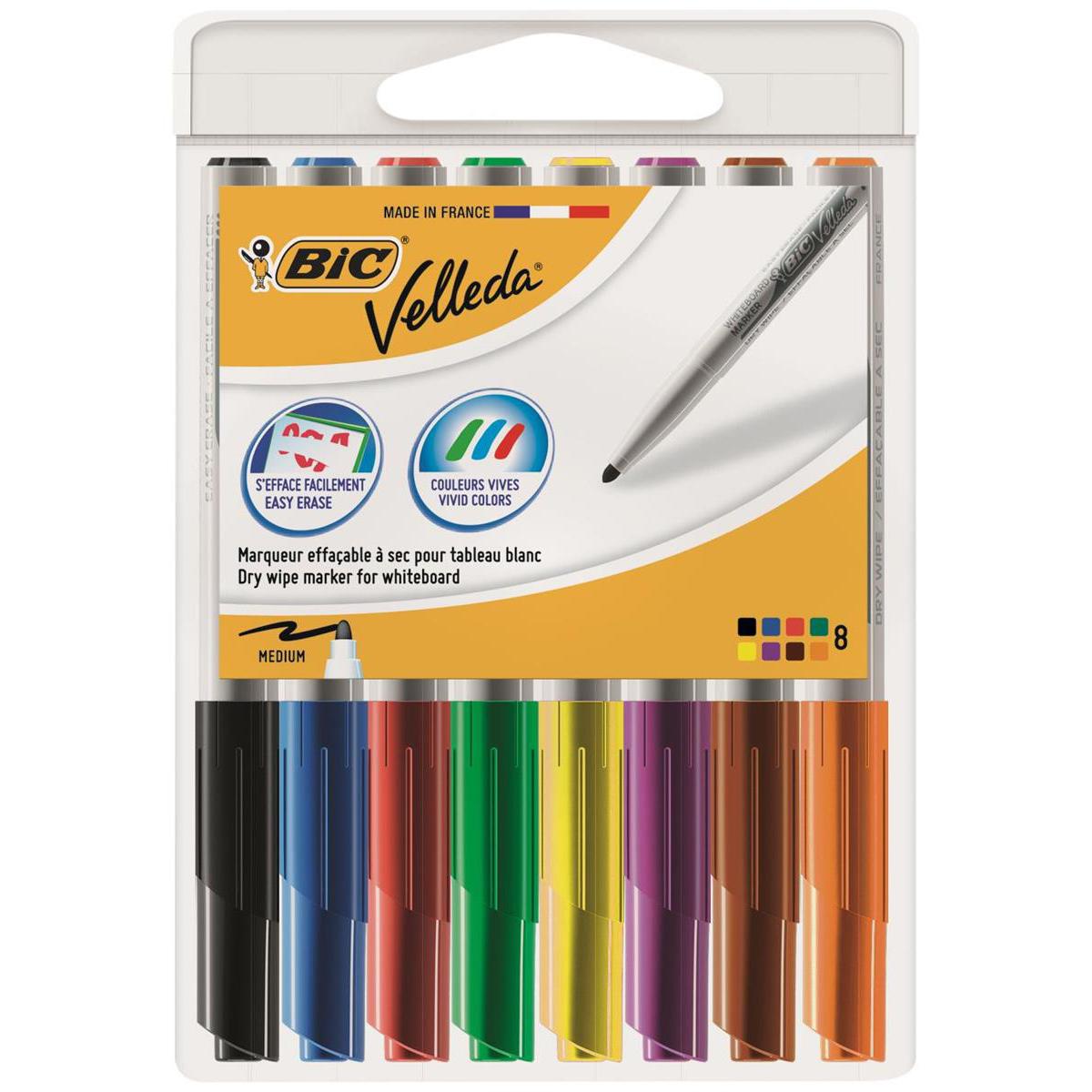 Bic Velleda Marker W/bd Dry-wipe 1741 Fine Bullet Tip 1.4mm Line Wallet Assorted Ref 1199001748 Pack 8